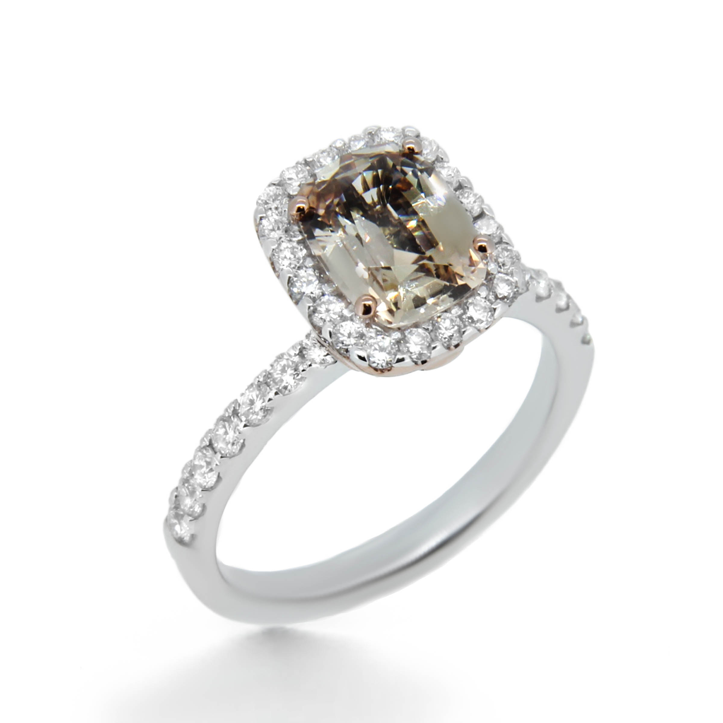 champagne diamond cushion cut engagement ring- haywards of hong kong