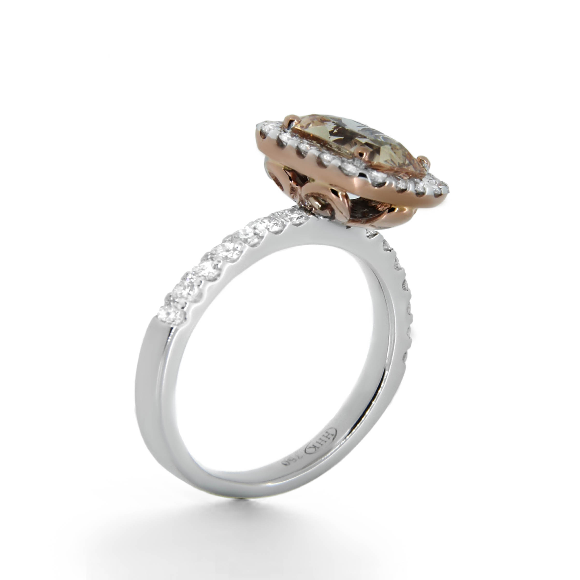 champagne cushion cut diamond ring- haywards of hong kong
