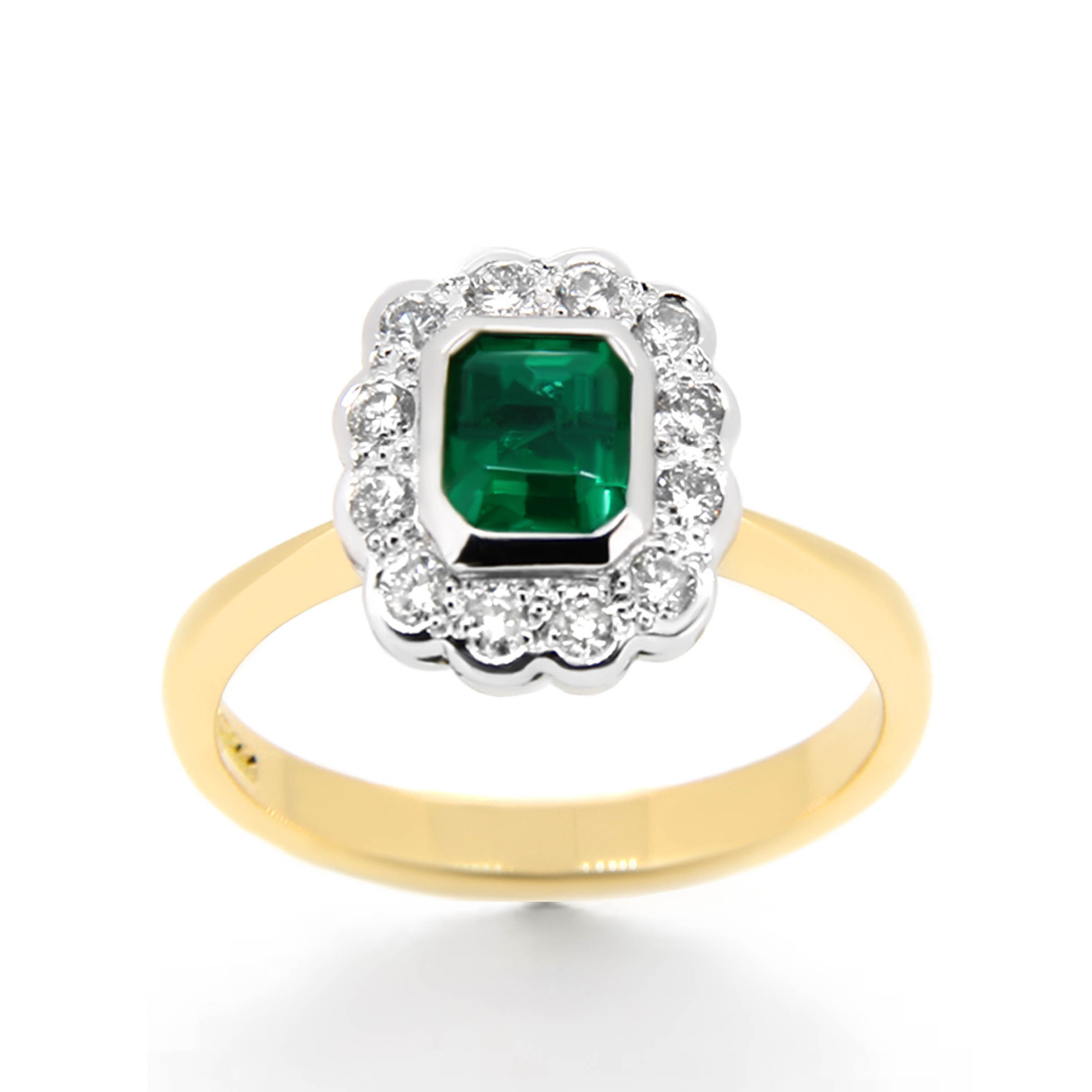 green emerald and diamond flower ring- haywards of hong kong