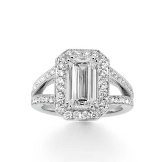 emerald cut diamond engagement ring- haywards of hong kong