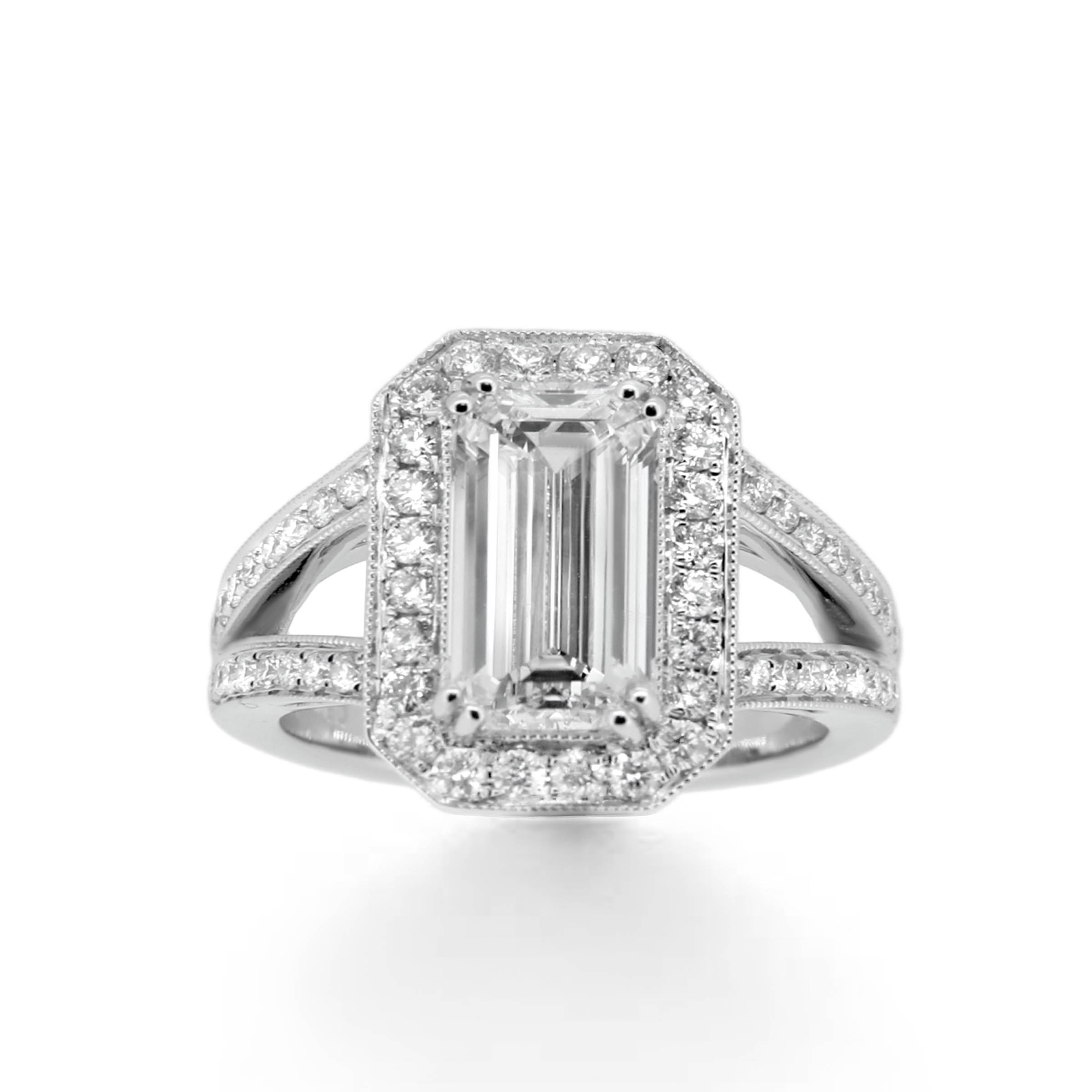 emerald cut diamond engagement ring- haywards of hong kong
