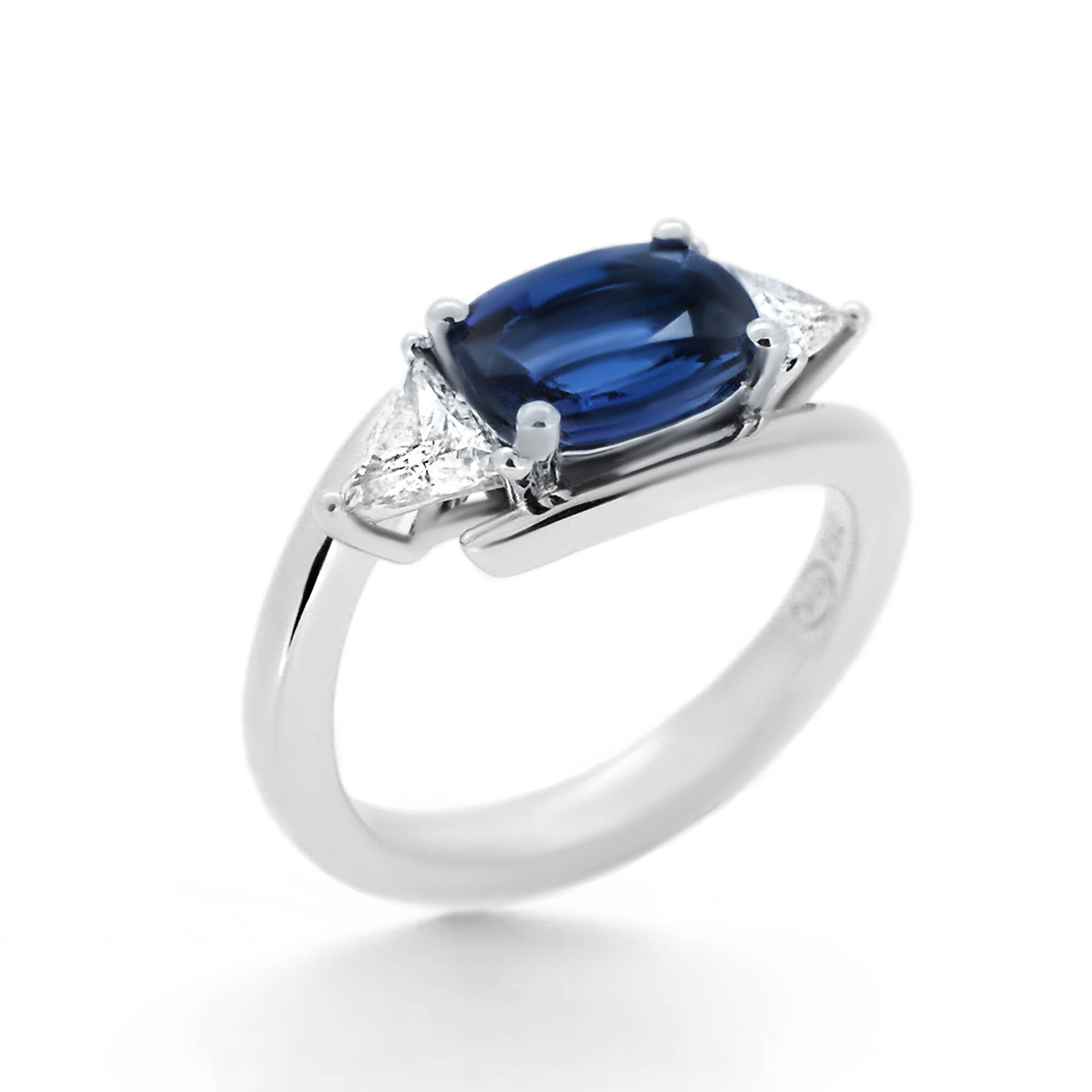 blue sapphire and trillion diamond engagement ring