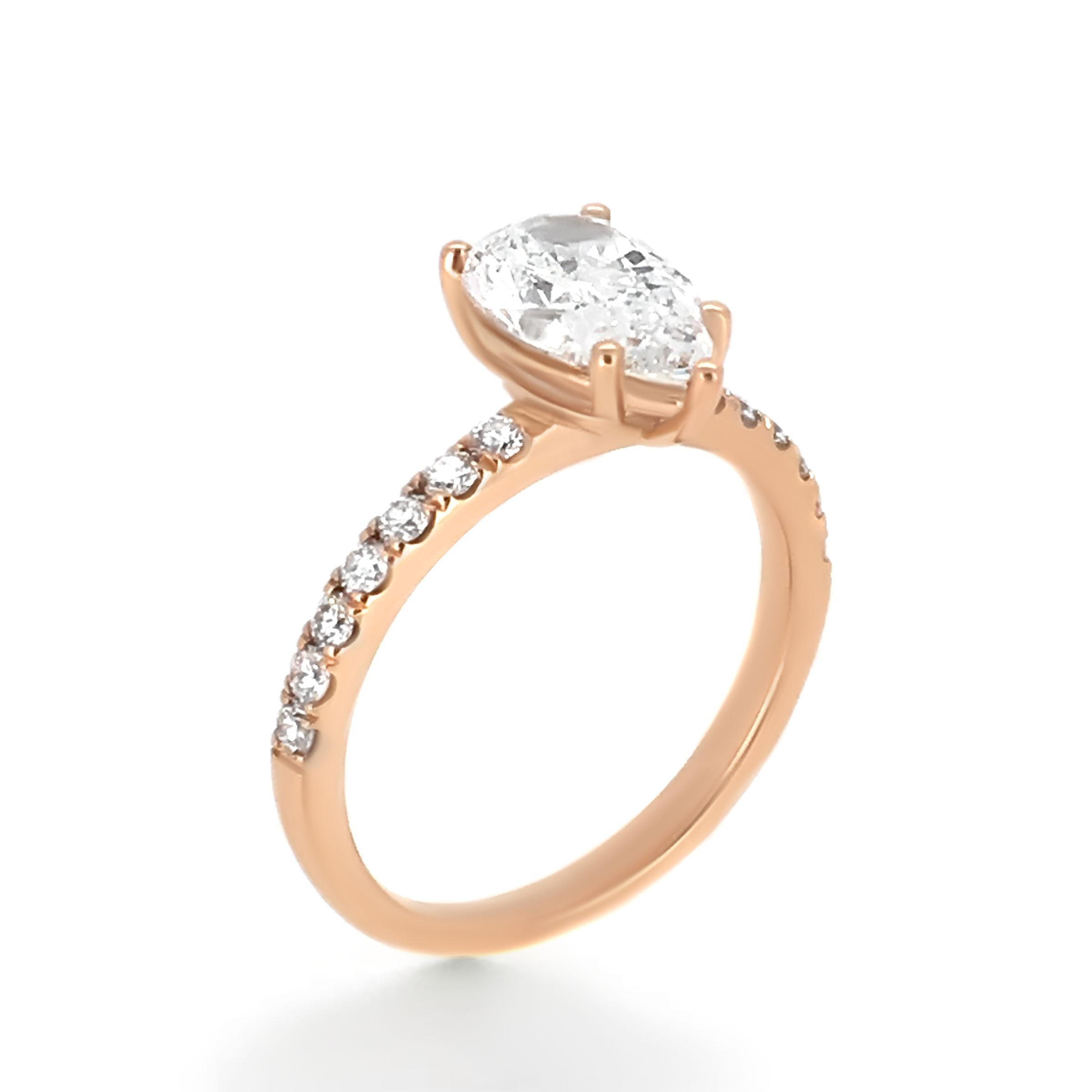 pear cut diamond ring- rose gold- haywards of hong kong