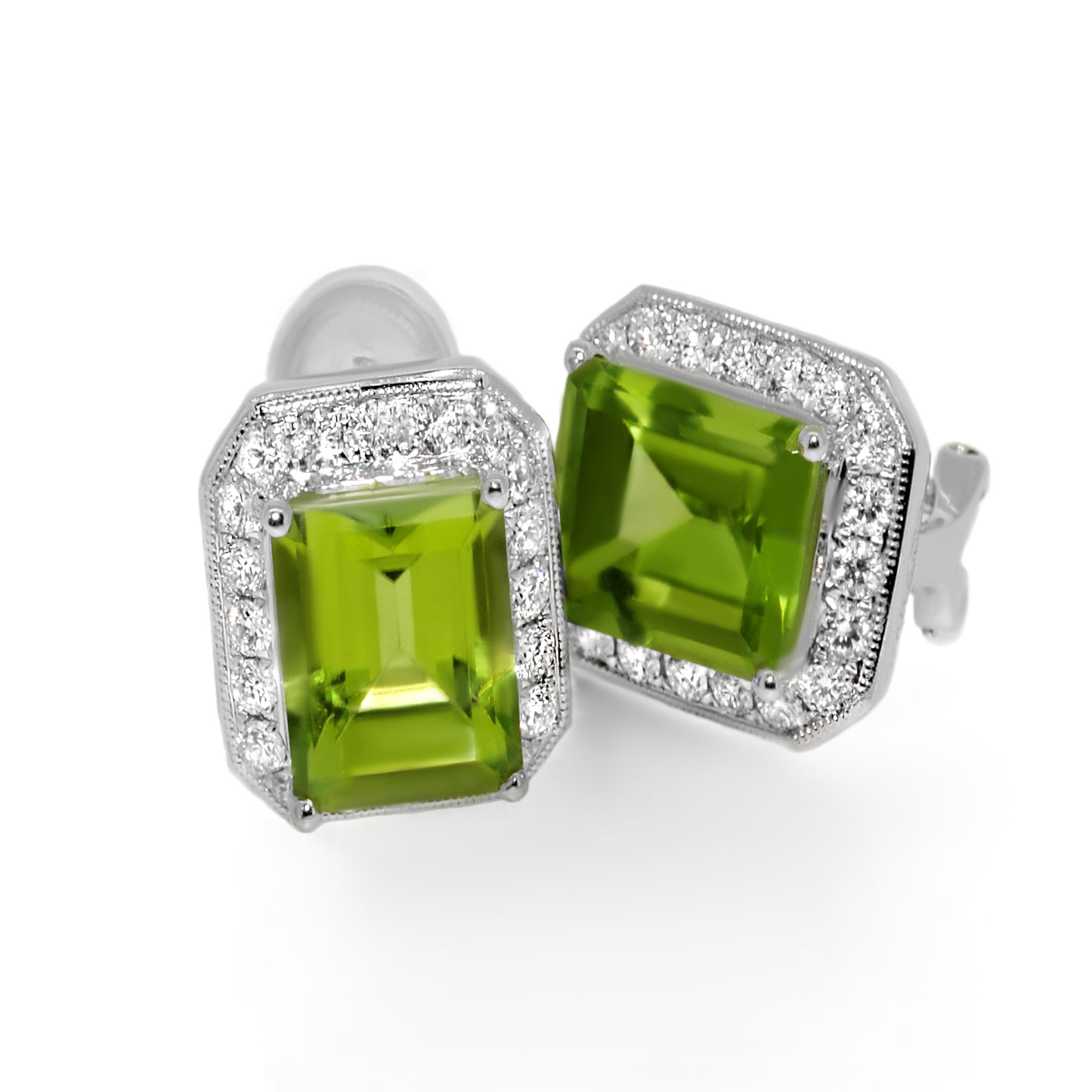 peridot and diamond earrings- haywards of hong kong