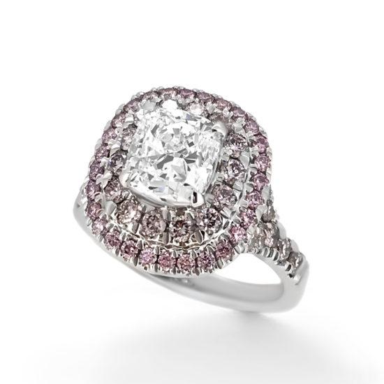 cushion cut and pink diamond engagement ring- haywards of hong kong