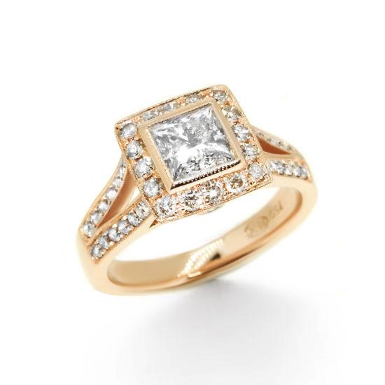 princess cut vintage style diamond ring- haywards of hong kong