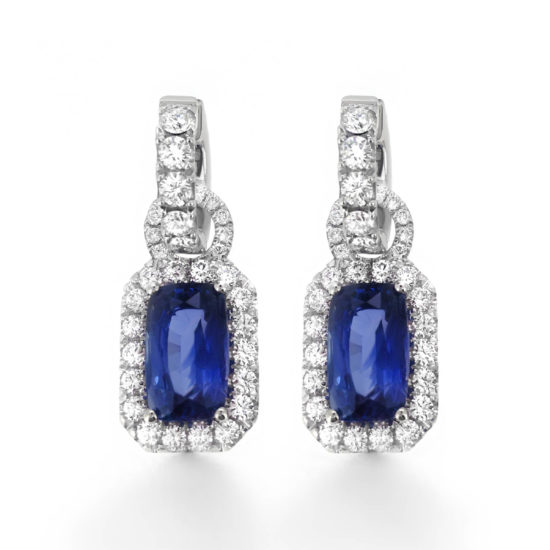 sapphire and diamond halo earrings- haywards of hong kong