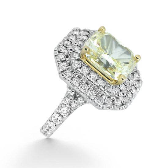 yellow diamond double halo engagement ring- haywards of hong kong