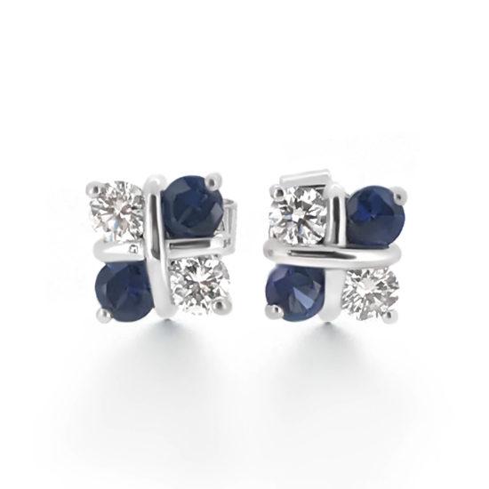 sapphire and diamond stud earrings- haywards of hong kong