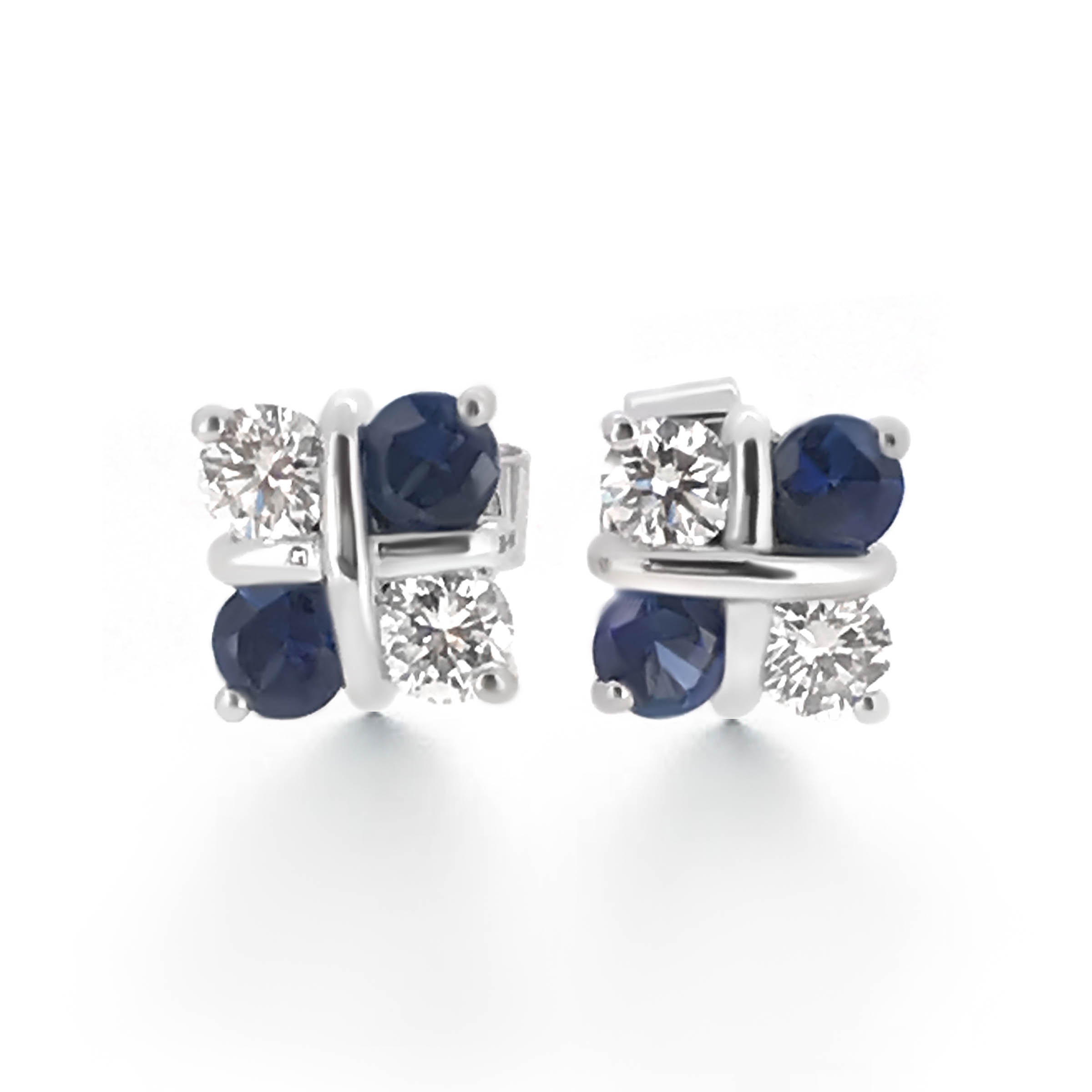 sapphire and diamond stud earrings- haywards of hong kong