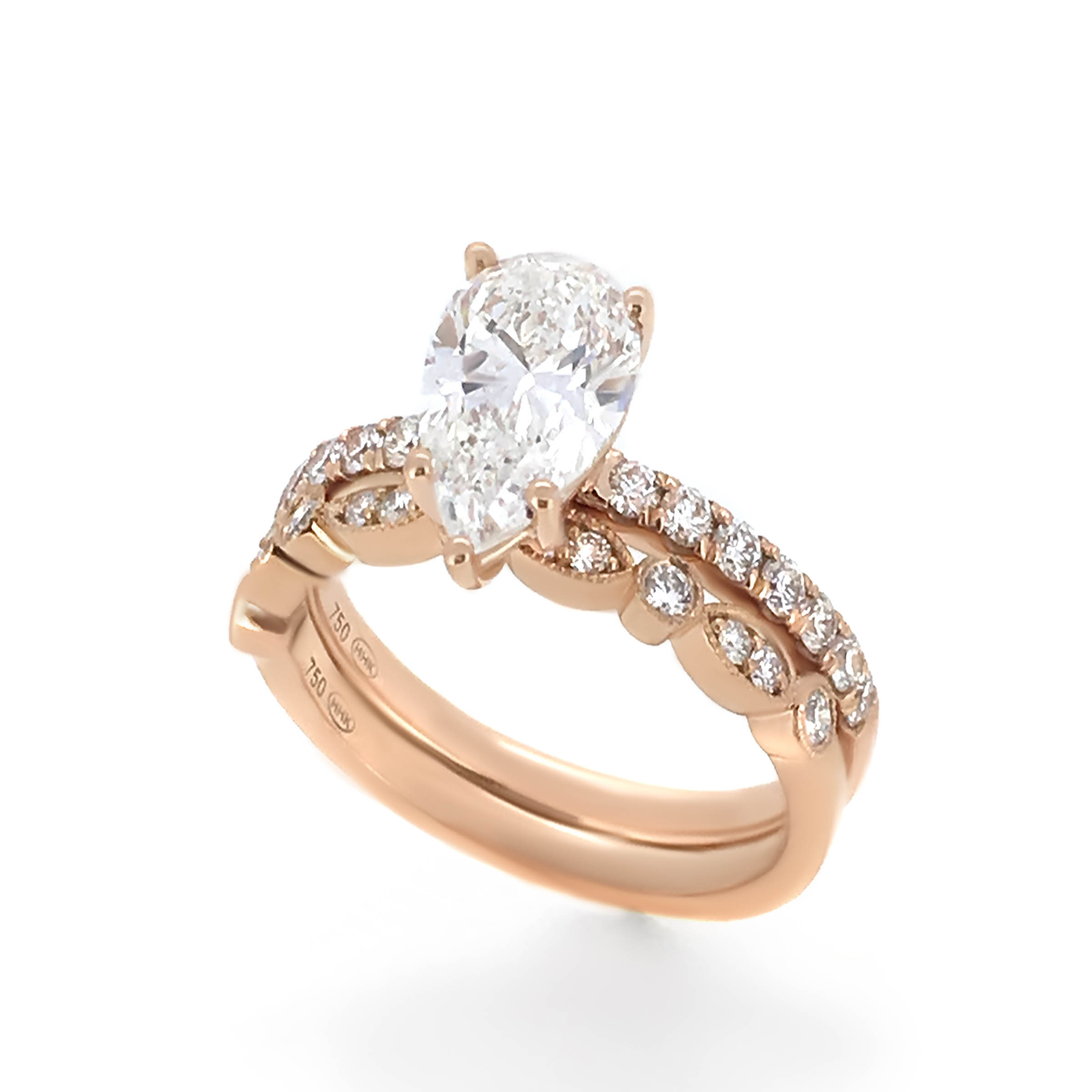 pear cut diamond engagement ring- haywards of hong kong