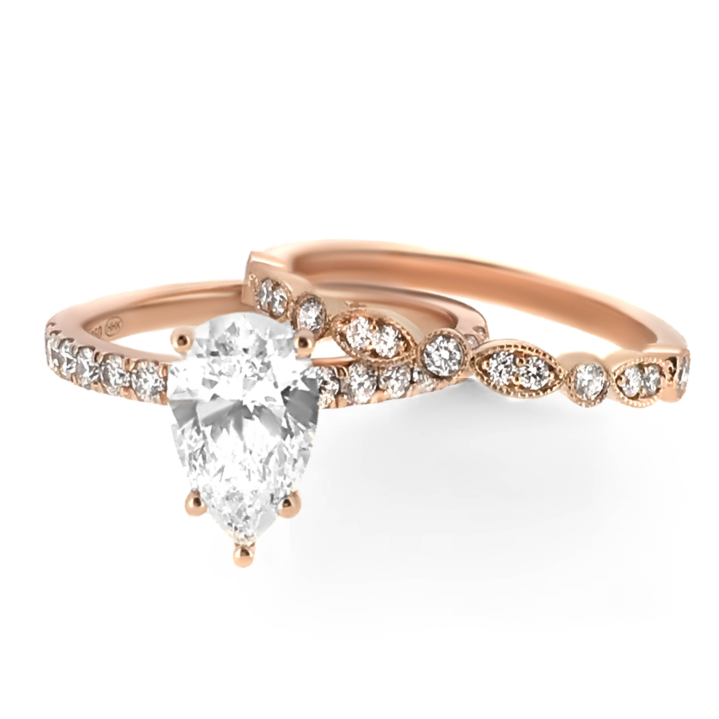 pear diamond ring and wedding band set -haywards of hong kong