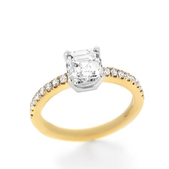 asscher cut diamond ring- haywards of hong kong