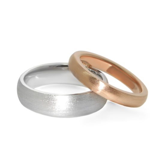 brushed finish wedding bands