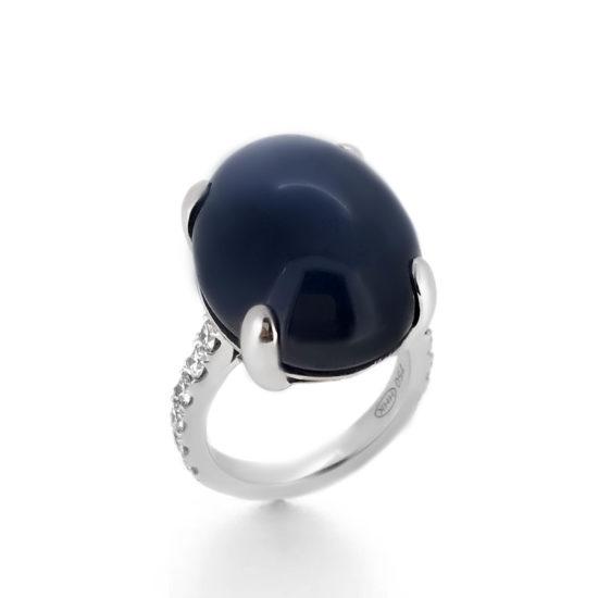 cabochon sapphire and diamond ring- haywards of hong kong