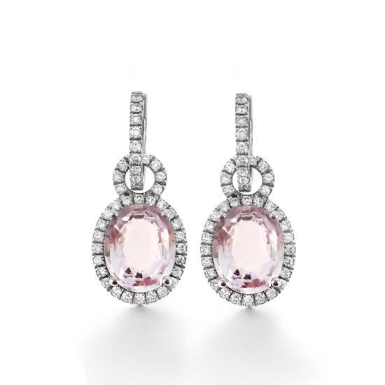 amethyst and diamond huggie earrings
