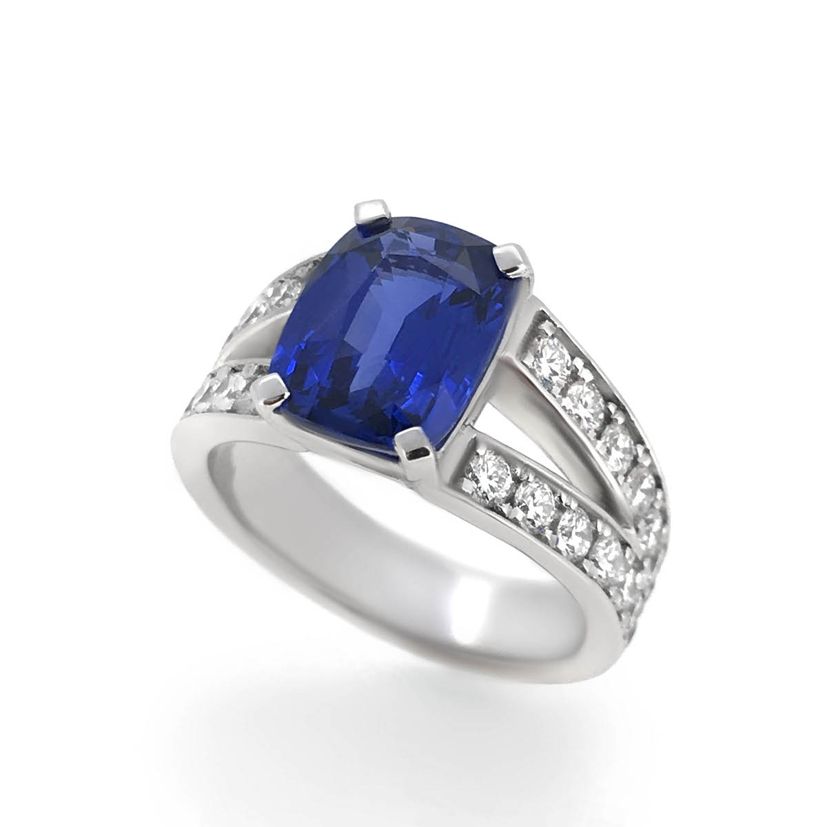 engagement white cushion halo diamond cut gold in carat sapphire ring and blue