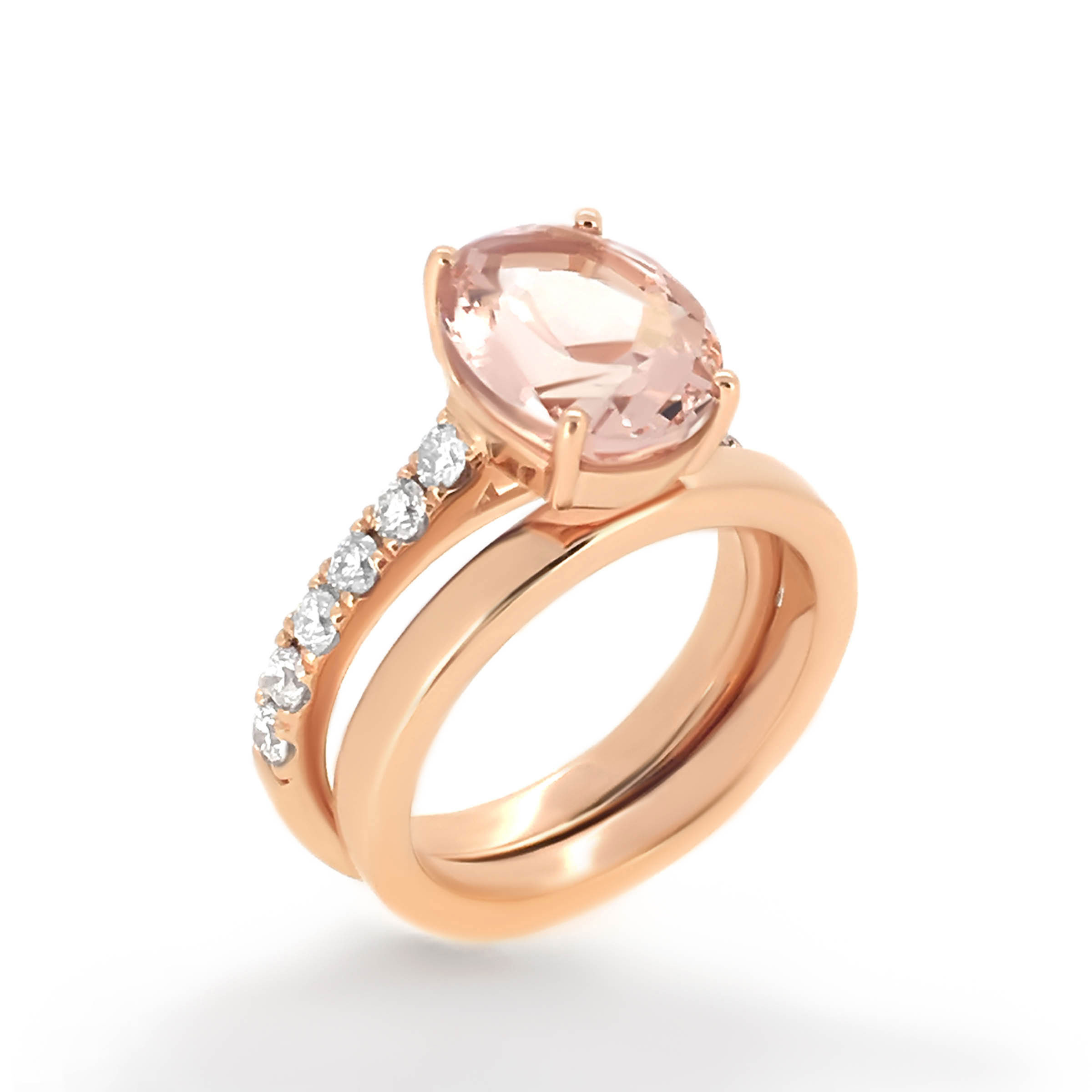 cut princess in halo pink scalloped ring gold rsg regular setting stone engagement rose rings diamond with back