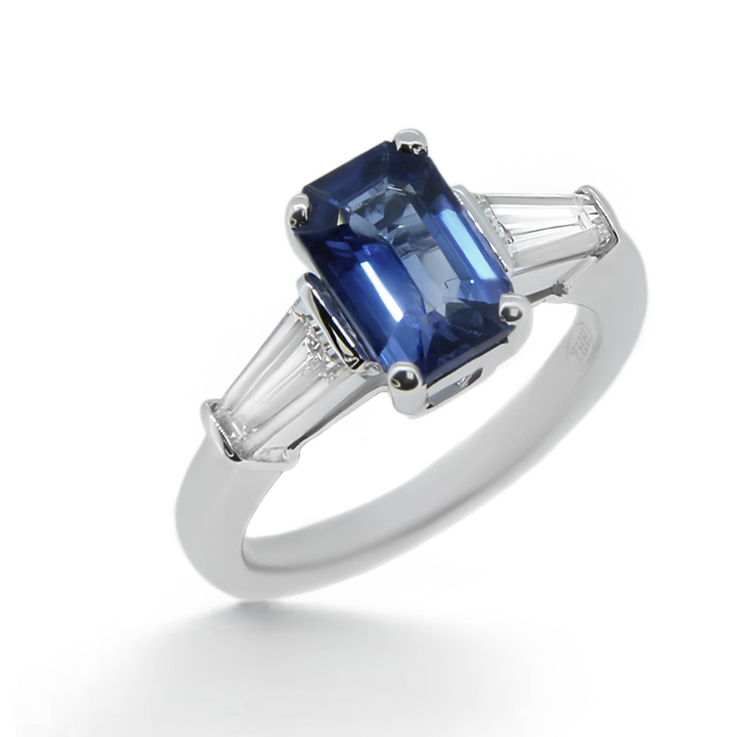 i baguette views more blue ceylon sapphire ring emerald ct rings engagement cut natural