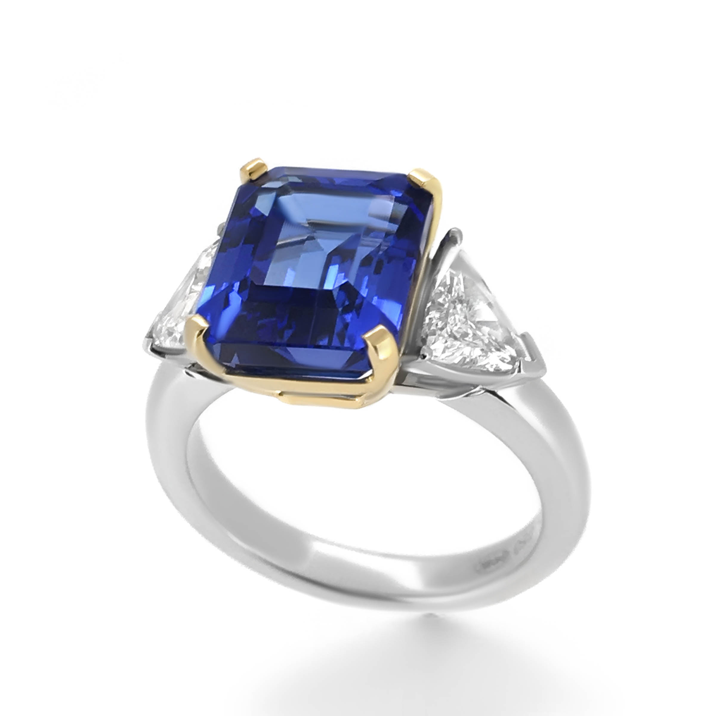 solid if natural tanzanite gold engagement trillion ring white twisted cut band solitaire blue