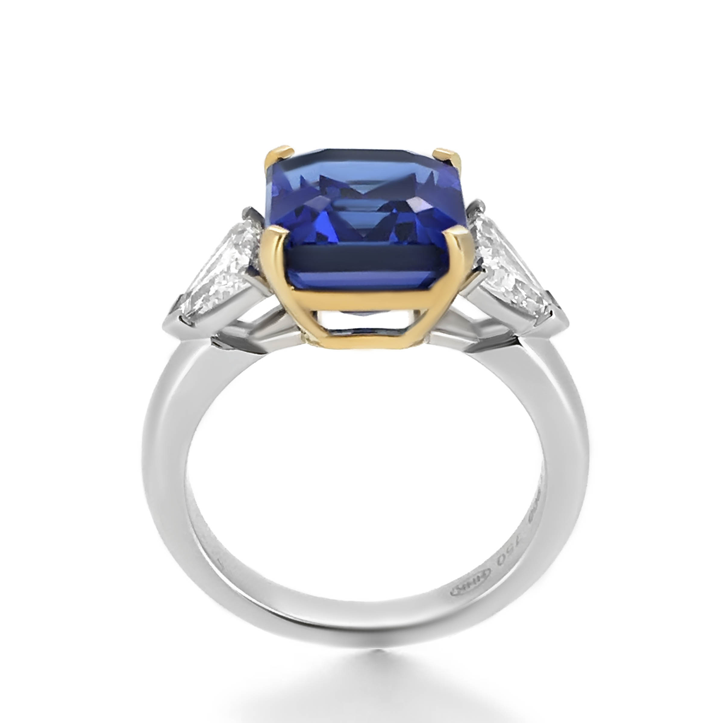 own design three engagement ring tanzanite your trilliant bpid stone cut tz trillion gold yellow