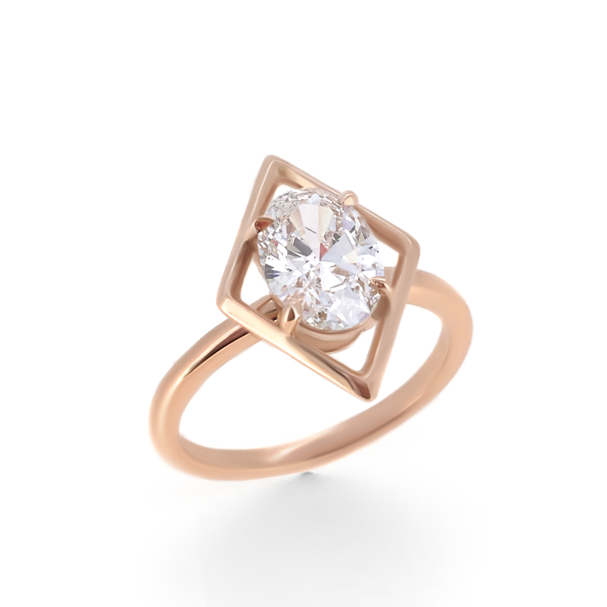 oval geometric prong rose ring rings gold cut yellow diamond aira engagement champagne img in with carat light set