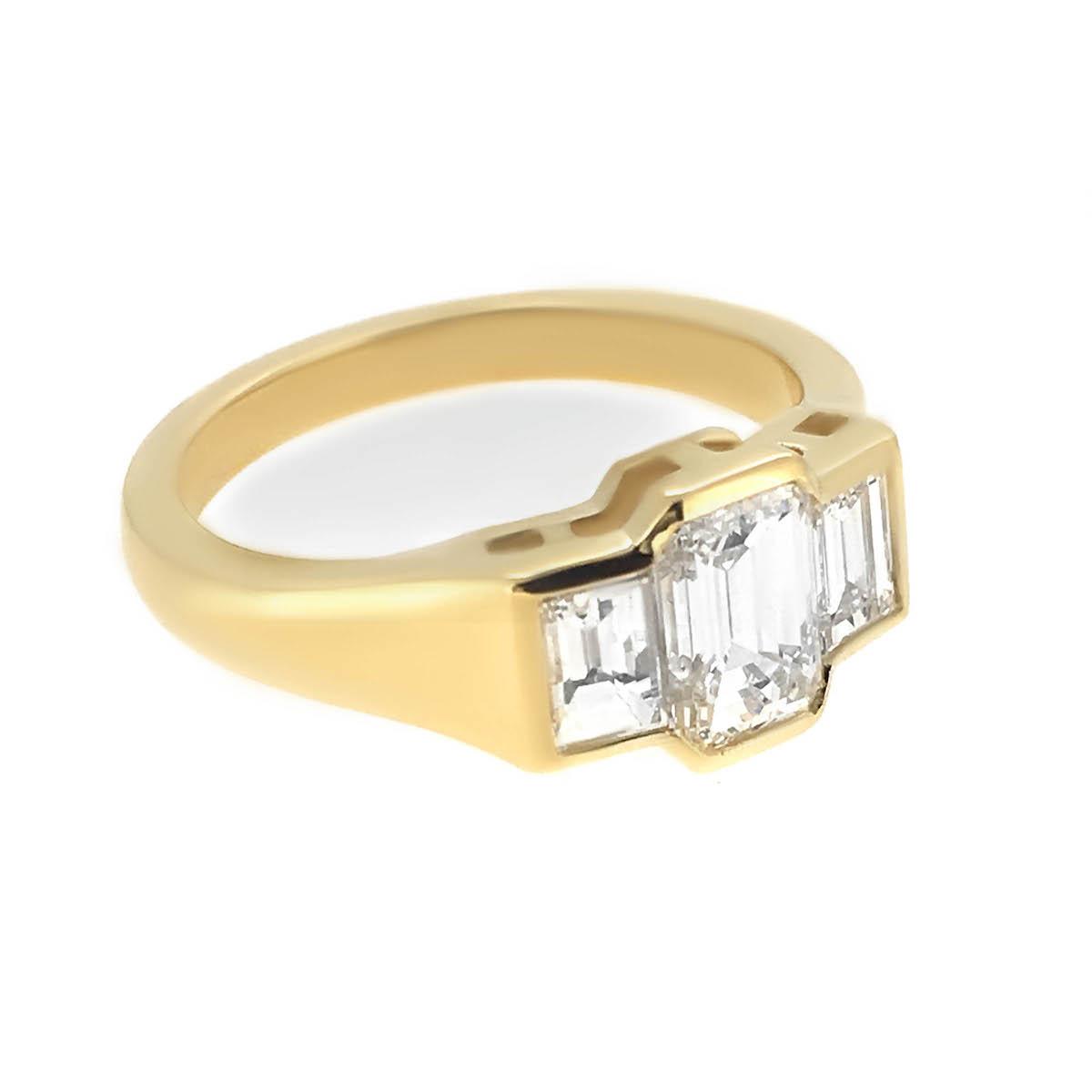 Modern Emerald Cut Diamond Engagement Ring