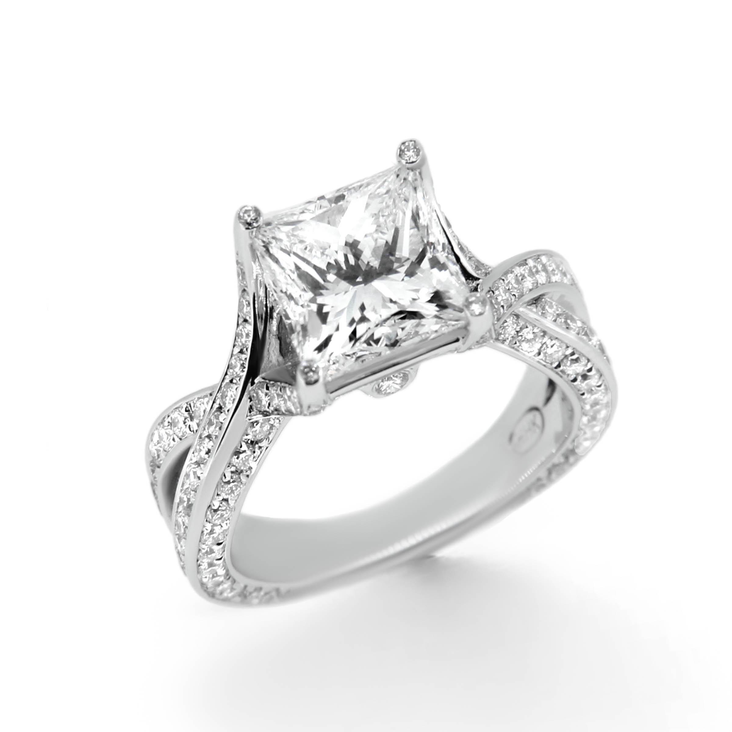 Princess Cut Twist Band Engagement Ring - Haywards of Hong ...